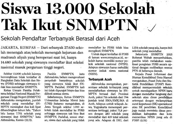 Students of 13,000 Schools Miss Out on SNMTPTN