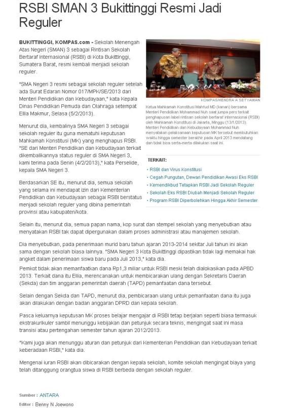 SMAN RSBI 3 Bukittinggi Becomes Regular School