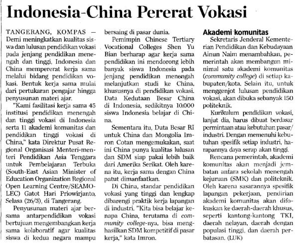 Indonesia – China Strengthen Vocational Education